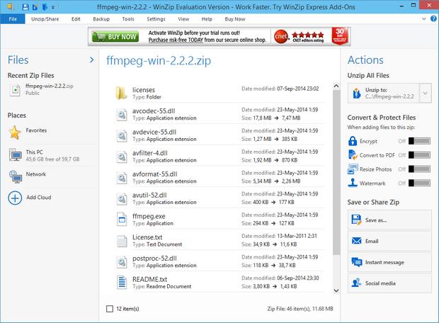 WinZip 19.0 screenshot (620 pix)