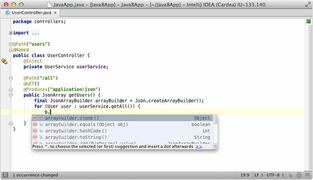 IntelliJ Idea 14 screenshot (620 pix)