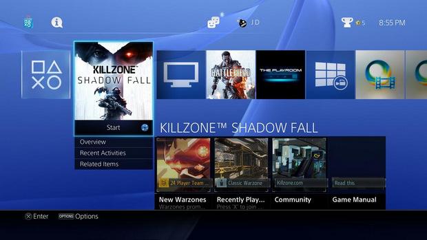 Sony PlayStation 4 menu (620 pix)