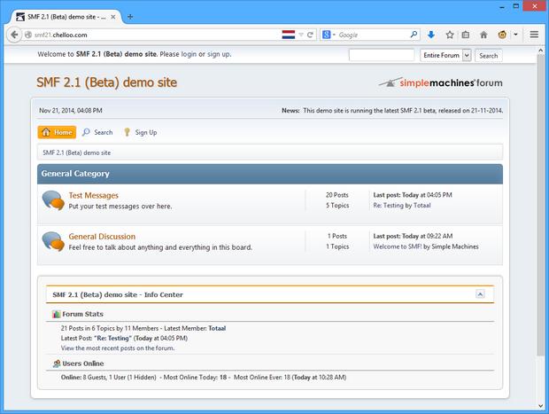 Simple Machines Forum 2.1 screenshot