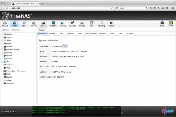 FreeNAS screenshot (620 pix)