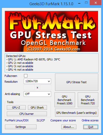 FurMark 1.15.1 screenshot