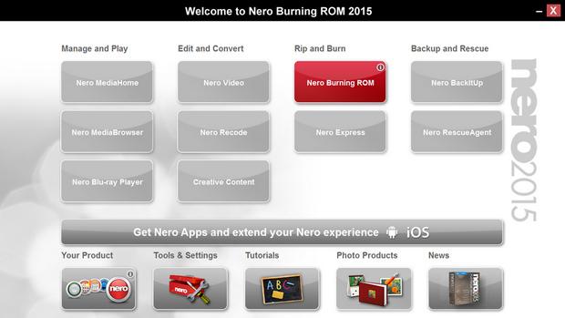 Nero Burning ROM 2015 screenshot (620 pix)