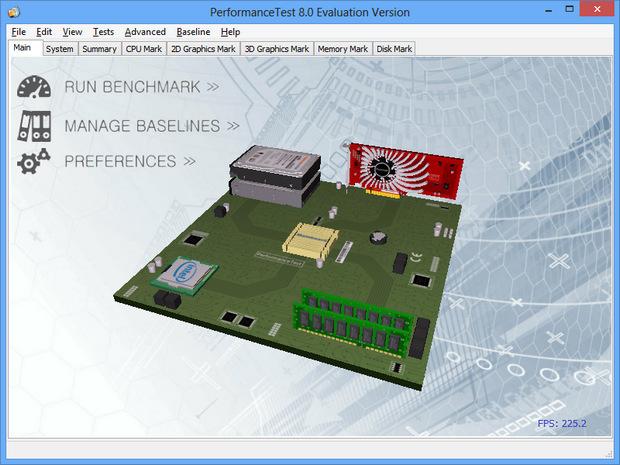 PassMark PerformanceTest 8.0 screenshot (620 pix)