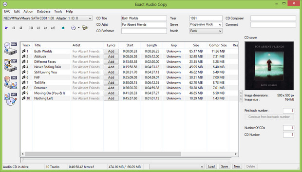 Exact Audio Copy screenshot (620 pix)