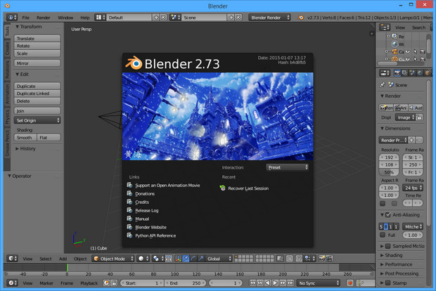 Blender 2.73 screenshot (620 pix)