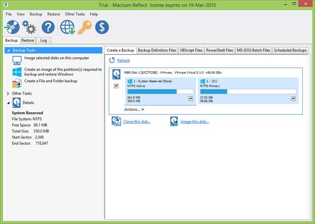 Macrium Reflect 6.0 Home screenshot (620 pix)