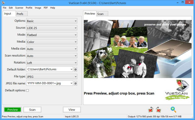 VueScan 9.5.04 screenshot (620 pix)