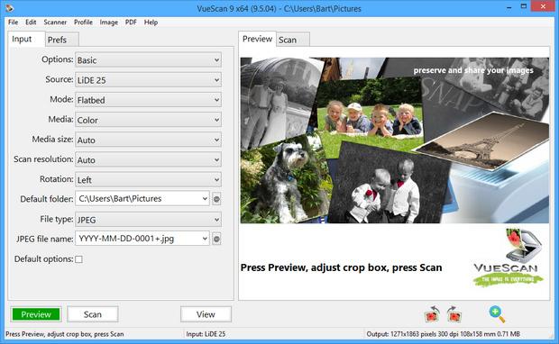 VueScan 9.5.04 screenshot (620 pix)