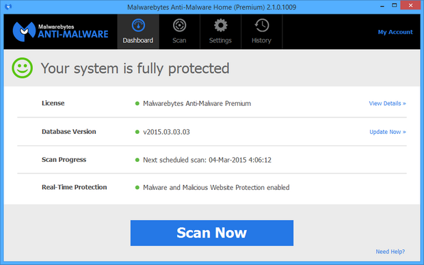 Malwarebytes' Anti-Malware 2.1.0 screenshot (620 pix)