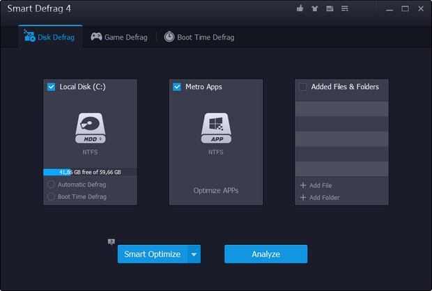 IObit Smart Defrag screenshot (620 pix)