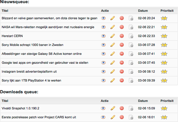 Screenshot van nieuws- en downloadsqueues