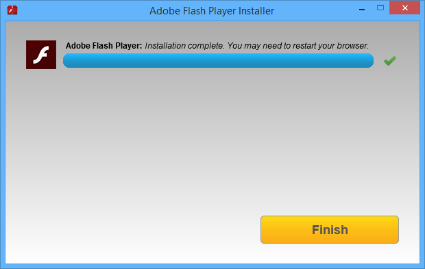 Adobe Flash Player installatie screenshot (620 pix)