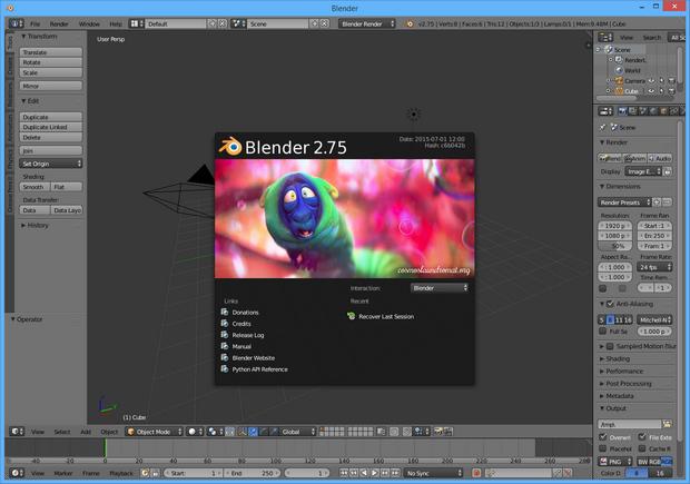 Blender 2.75 screenshot (620 pix)