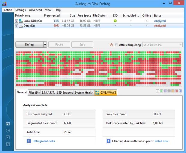 Auslogics Disk Defrag 6.0 screenshot (620 pix)