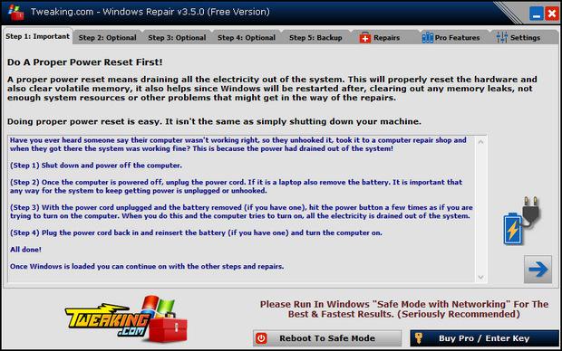 Windows Repair screenshot (620 pix)