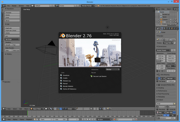 Blender 2.76 screenshot (620 pix)
