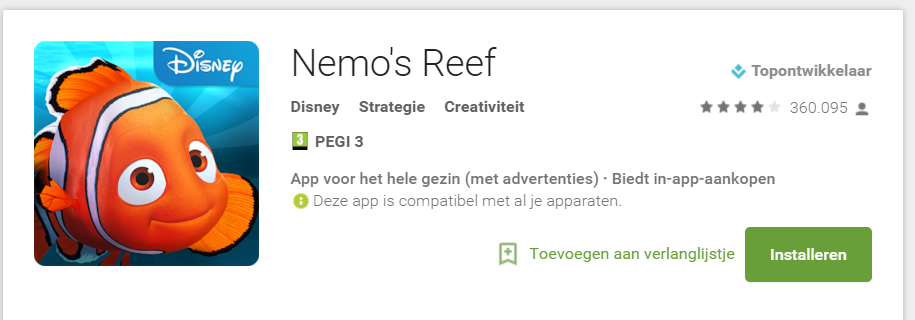 Google Play - bevat advertenties