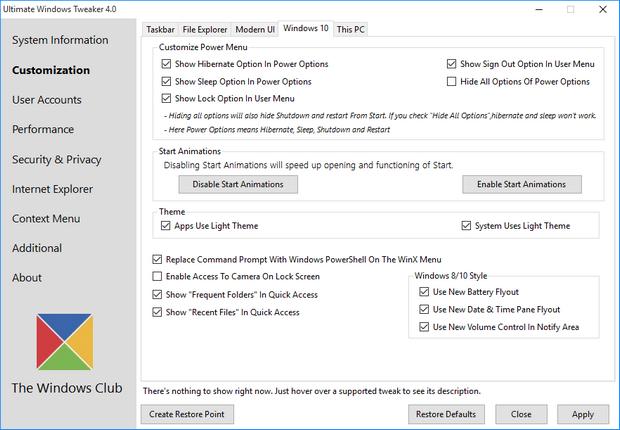 Ultimate Windows Tweaker 4 screenshot (620 pix)