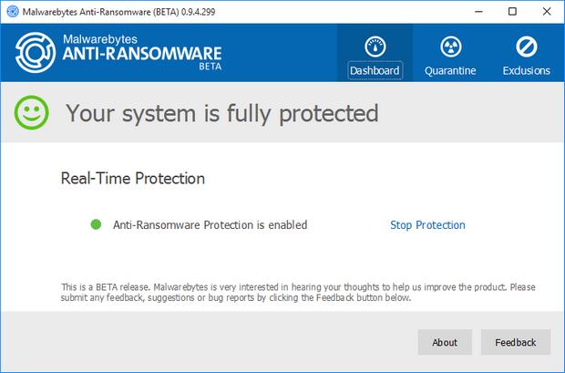 Malwarebytes Anti-Ransomware bèta screenshot (620 pix)