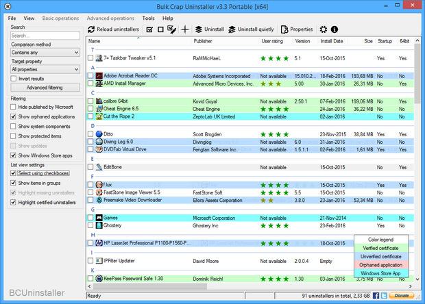 Bulk Crap Uninstaller screenshot (620 pix)