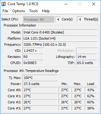 CoreTemp 1.0 RC8 screenshot