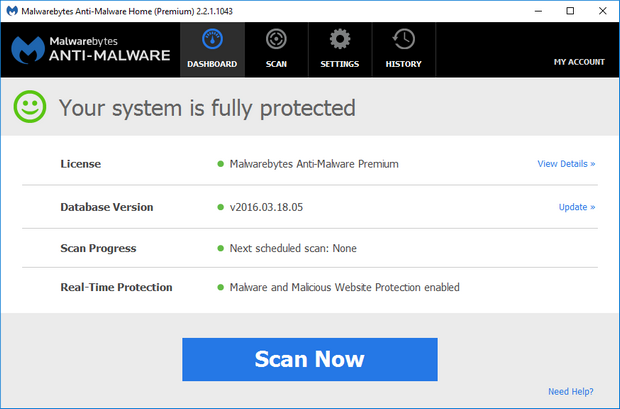 Malwarebytes' Anti-Malware 2.2.1 screenshot (620 pix)