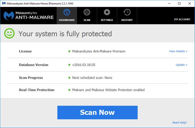 Malwarebytes' Anti-Malware 2.2.1 screenshot (620 pix)