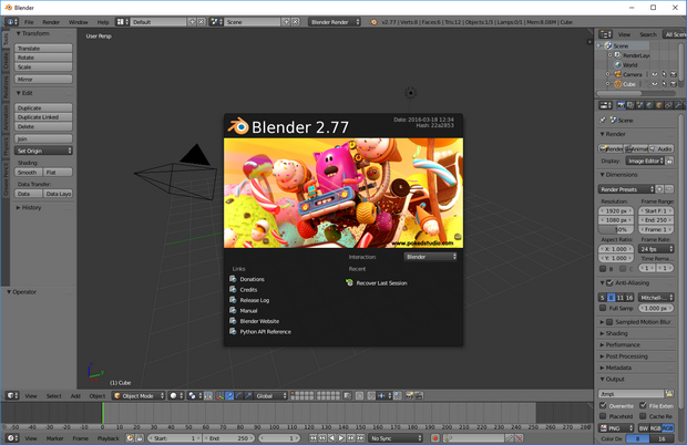 Blender 2.77 screenshot (620 pix)