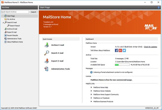 MailStore Home screenshot (620 pix)