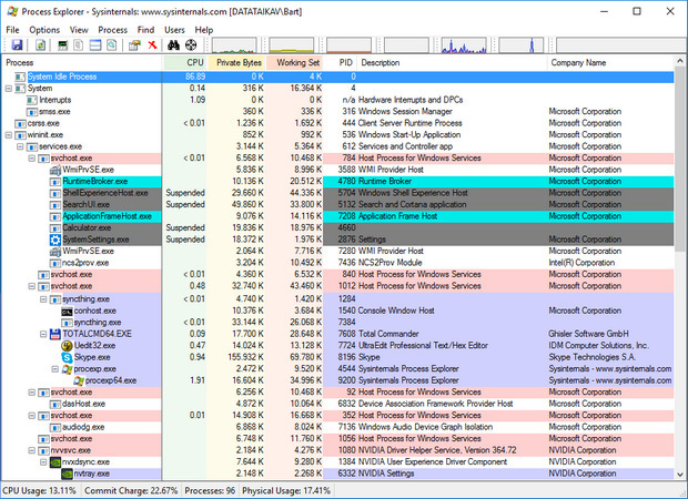 Process Explorer 16 screenshot (620 pix)