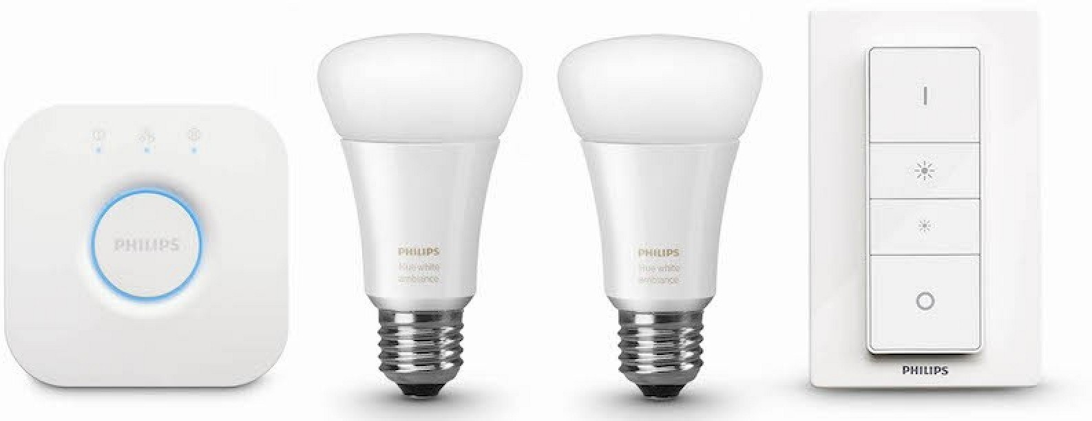 philips hue white ambiance starter pack e27 2 lampen 1 dimmer met bridge 2 0 prijzen. Black Bedroom Furniture Sets. Home Design Ideas