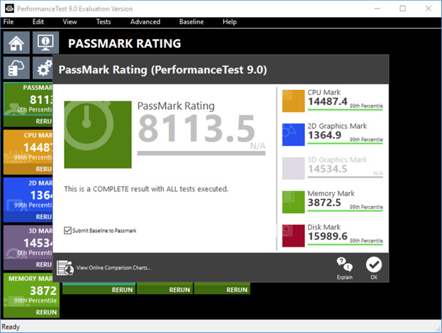 PassMark PerformanceTest 9.0 screenshot (620 pix)