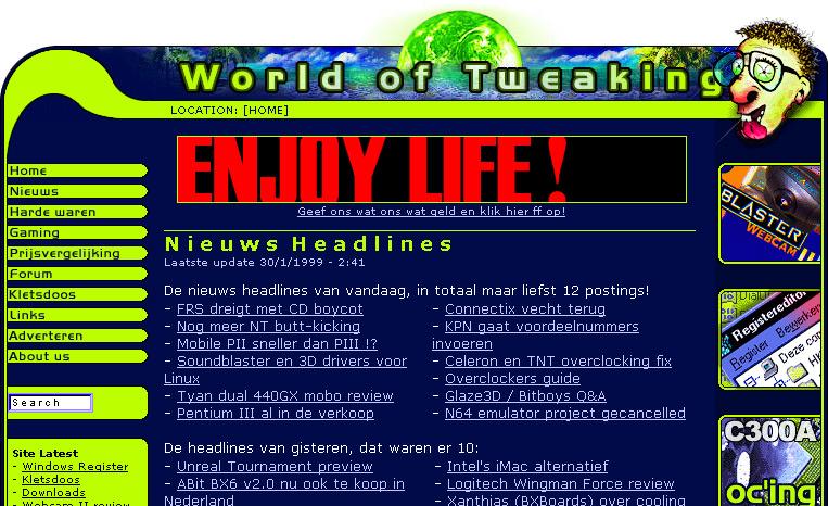 World of Tweaking frontpage 30 januari 1999 (uitsnede)