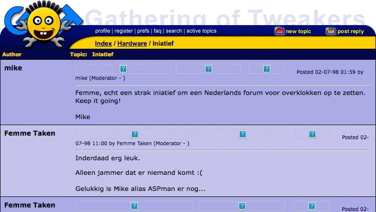 Eén van de eerste forumtopics ooit op GoT