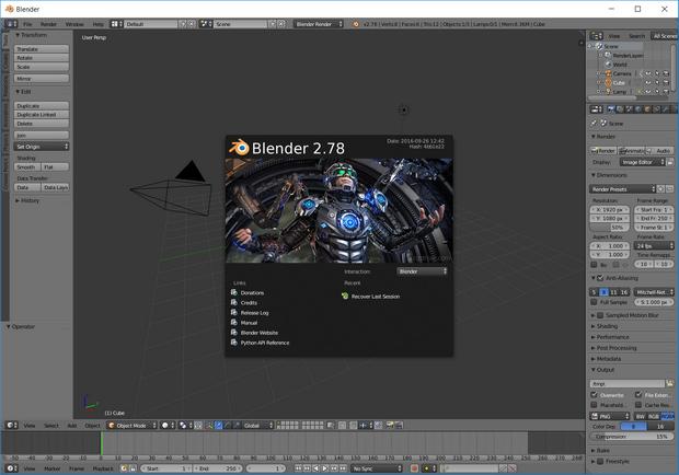 Blender 2.78 screenshot (620 pix)