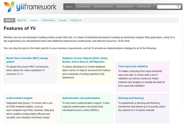 Yii PHP Framework screenshot (620 pix)