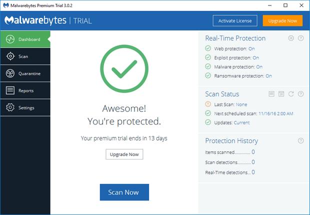Malwarebytes' Anti-Malware 3.0.2 screenshot (620 pix)
