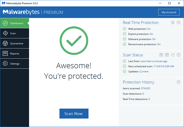 Malwarebytes' Anti-Malware 3.0.3 screenshot (620 pix)