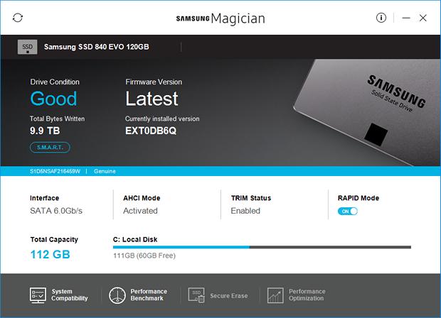 Samsung Magician 5.0 screenshot (620 pix)