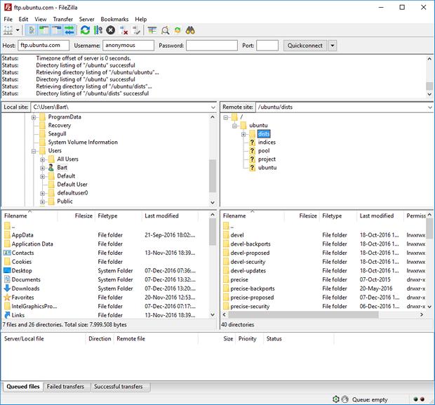 FileZilla 3.23.0 screenshot (620 pix)