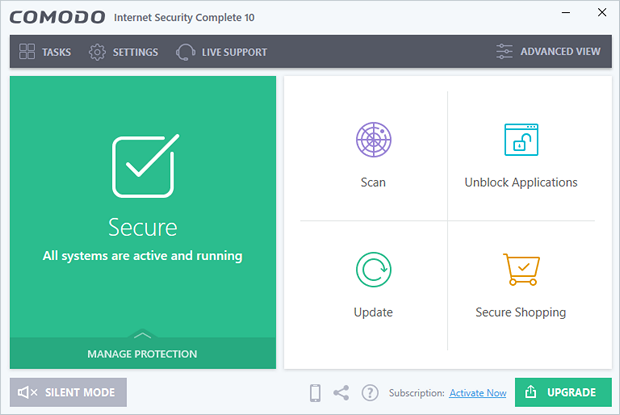 Comodo Internet Security 10.0 screenshot (620 pix)
