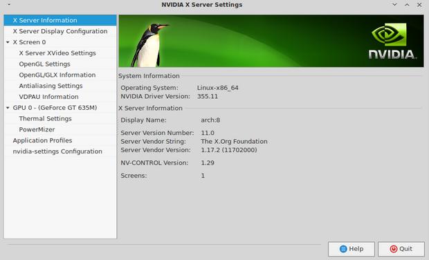 Nvidia Linux Display Driver screenshot (620 pix)