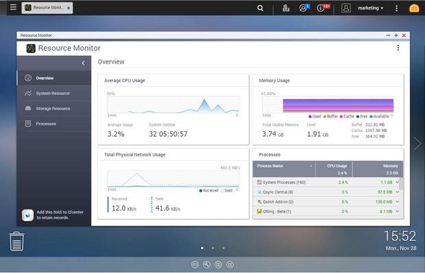 De recource monitor in QNAP QTS 4.3.3