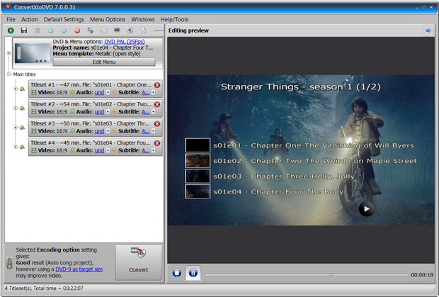 ConvertXtoDVD 7.0 screenshot (620 pix)