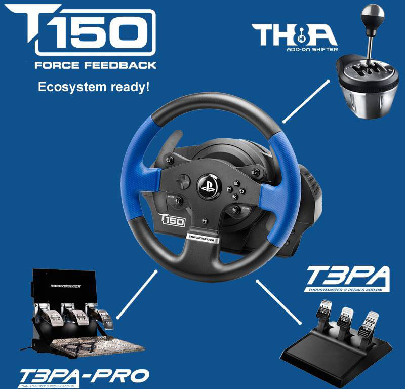 Thrustmaster T150 RS PRO Blauw, Multi-color, Zwart