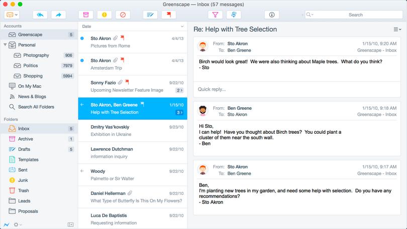 Postbox 6.0 screenshot (620 pix)