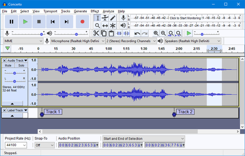 Audacity 2.2.0 light theme screenshot (810 pix)