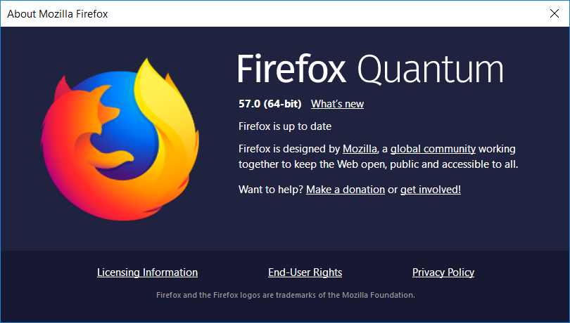Mozilla Firefox 57 about screen