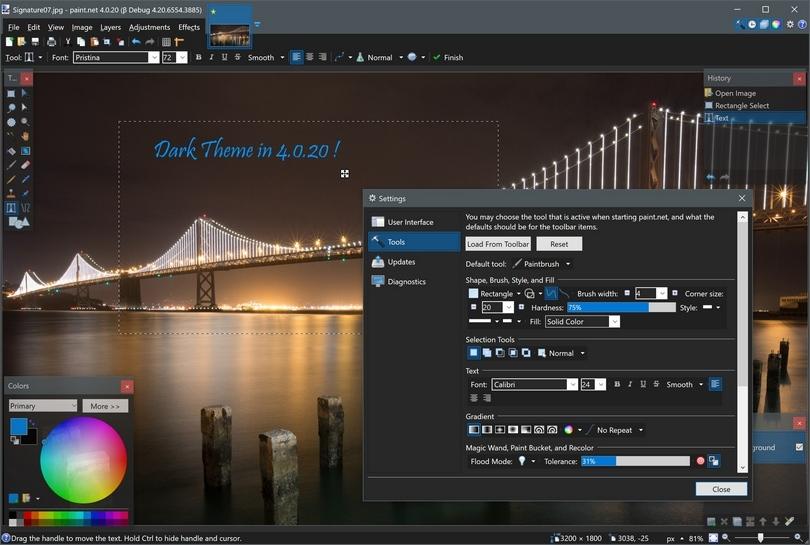 Paint.NET 4.0.20 dark theme screenshot (810 pix)